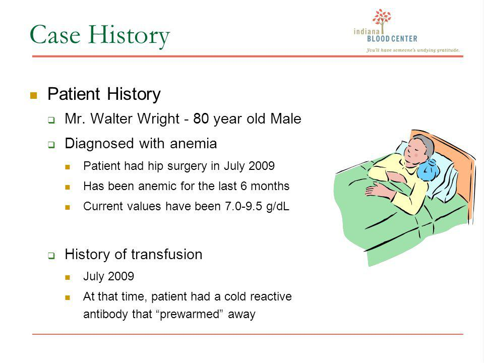 Case History Patient History Mr. Walter Wright - 80 year old Male