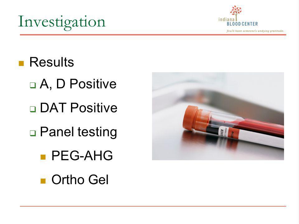 Investigation Results A, D Positive DAT Positive Panel testing PEG-AHG