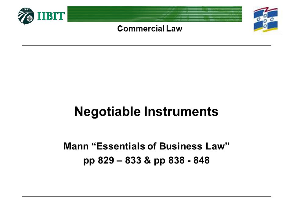 Negotiable Instruments Mann Essentials of Business Law