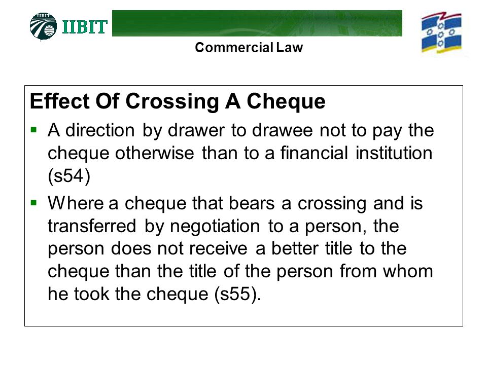 Effect Of Crossing A Cheque