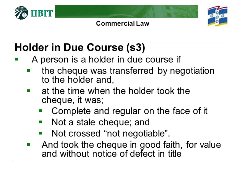 Holder in Due Course (s3)