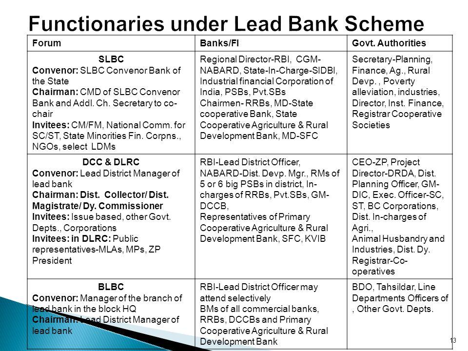 Functionaries under Lead Bank Scheme