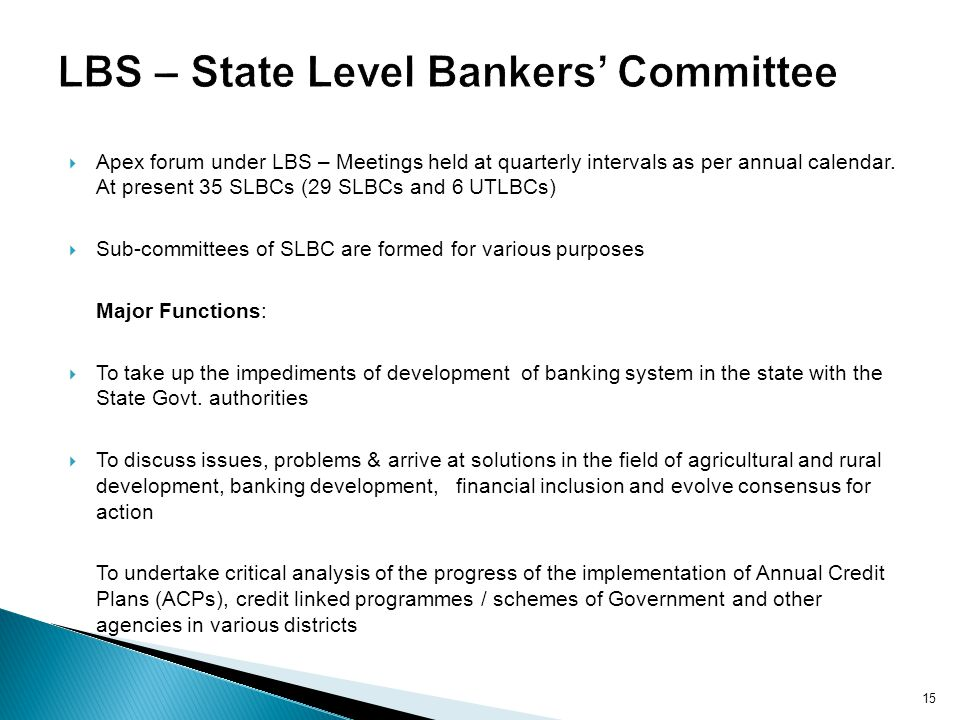 LBS – State Level Bankers' Committee