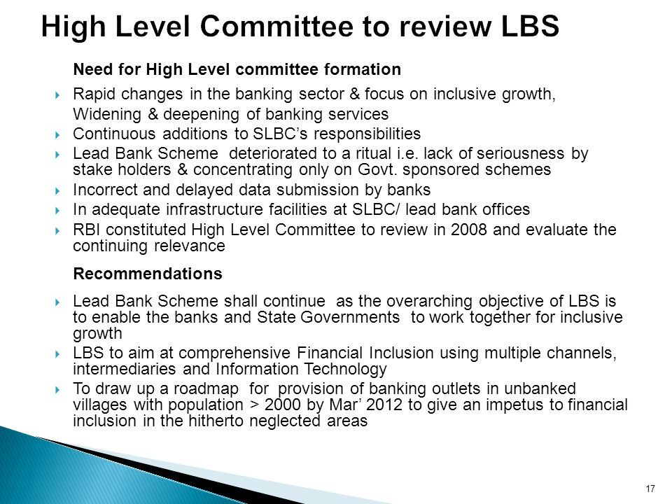 High Level Committee to review LBS