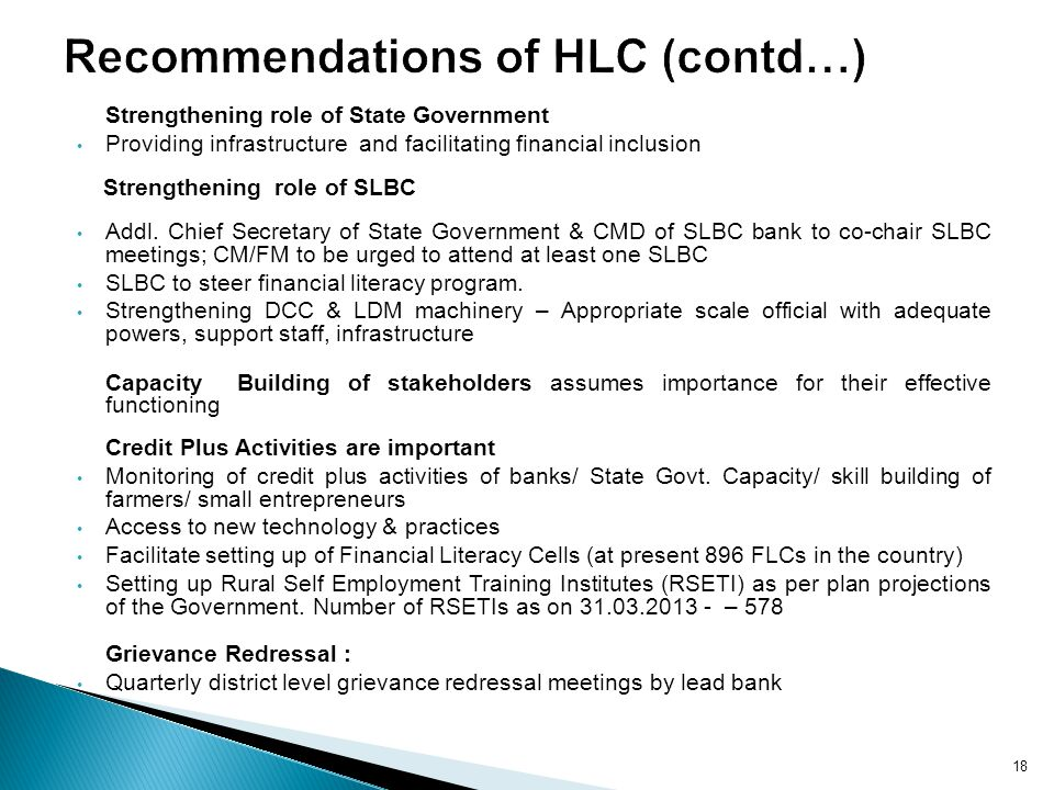 Recommendations of HLC (contd…)