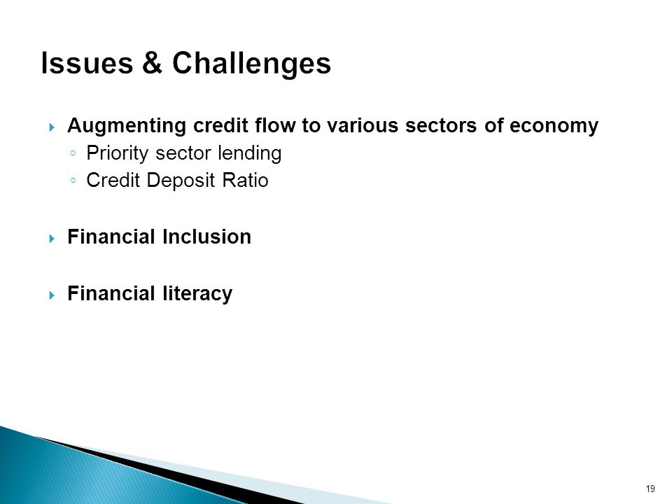 Issues & Challenges Augmenting credit flow to various sectors of economy. Priority sector lending.