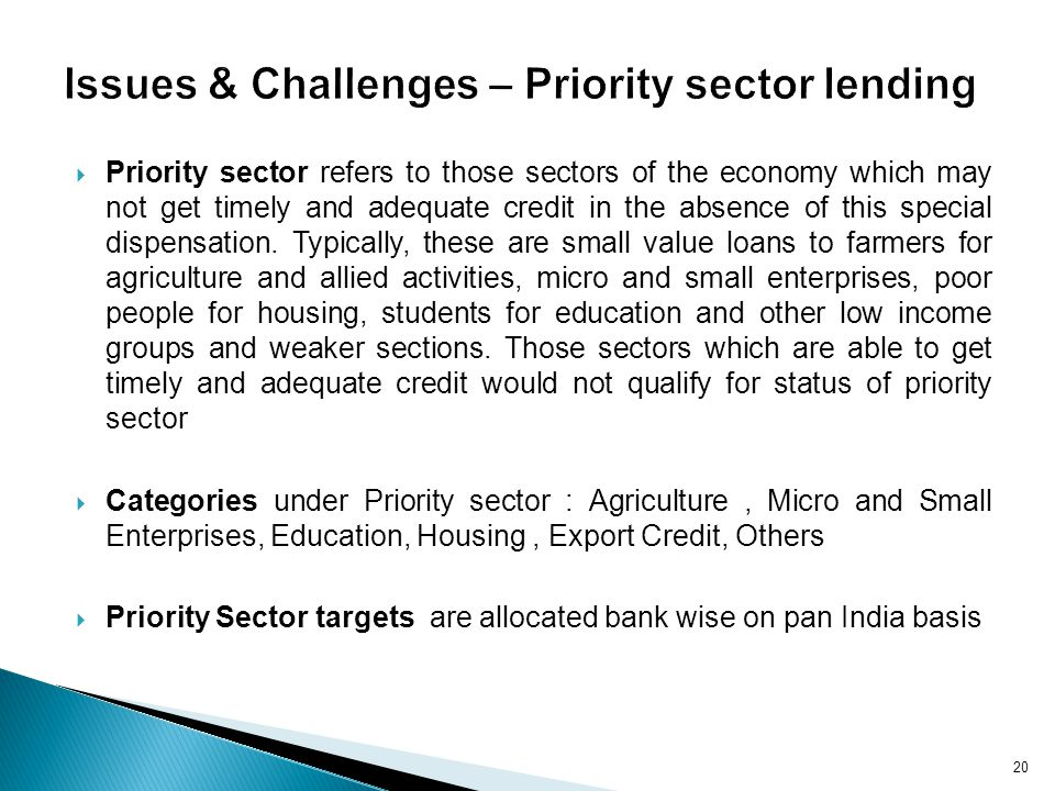Issues & Challenges – Priority sector lending