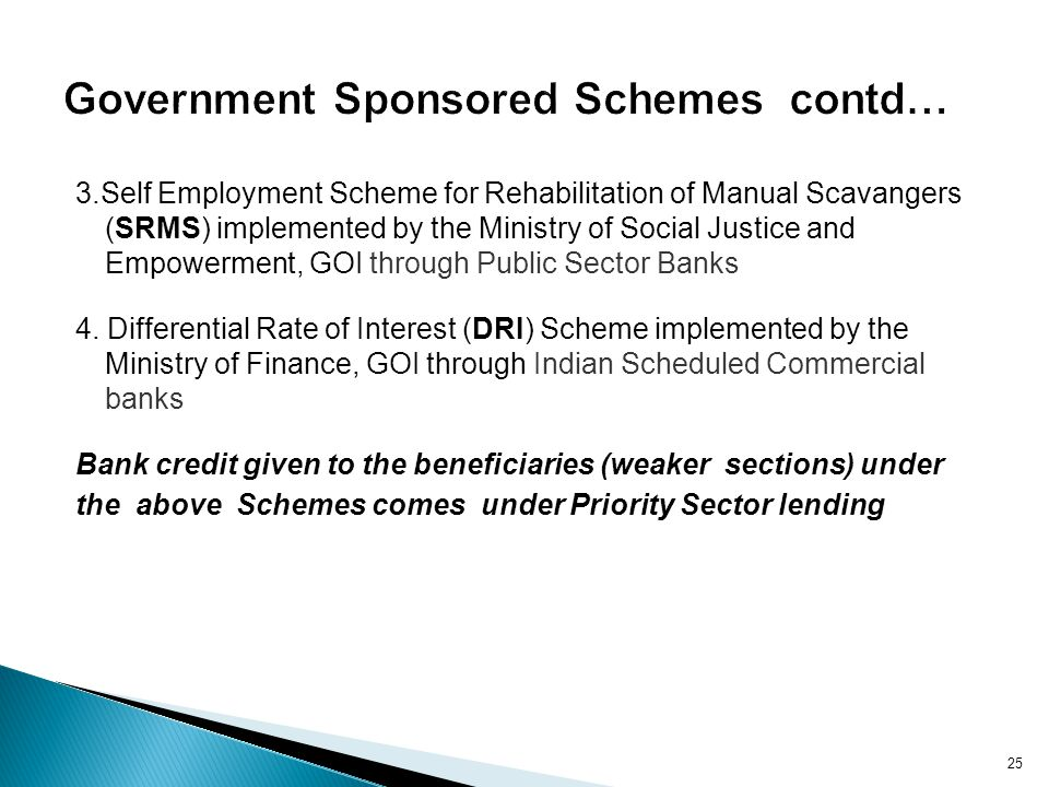 Government Sponsored Schemes contd…
