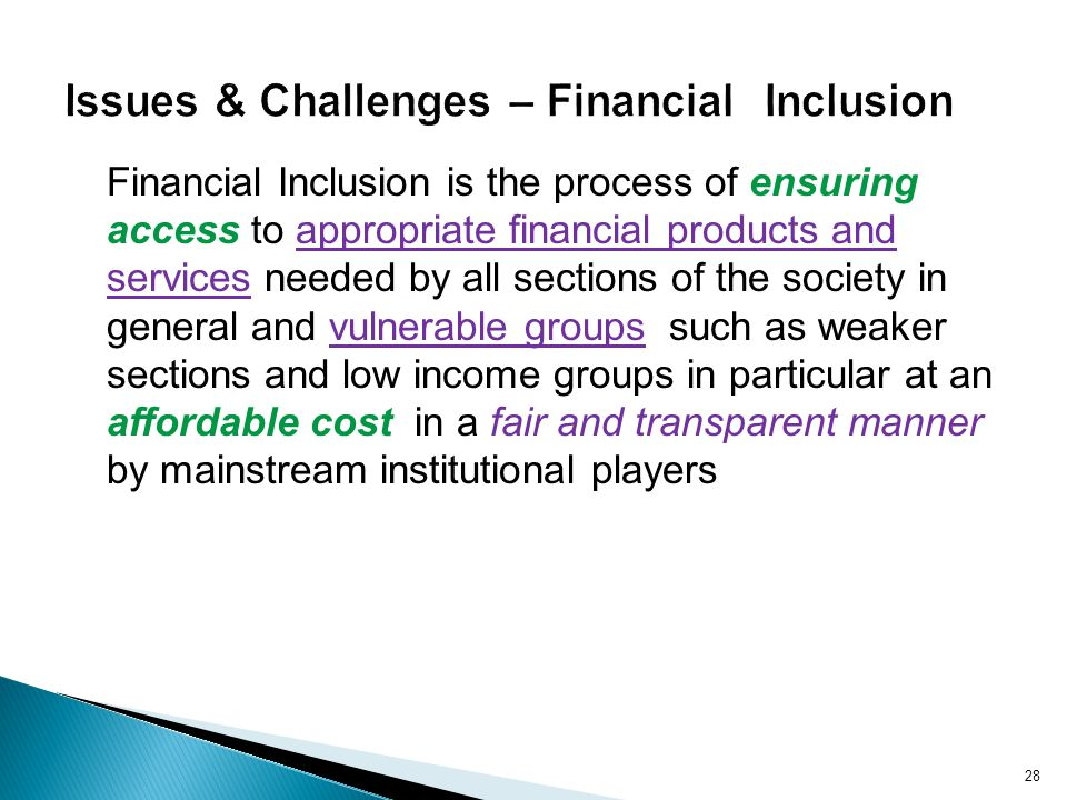 Issues & Challenges – Financial Inclusion