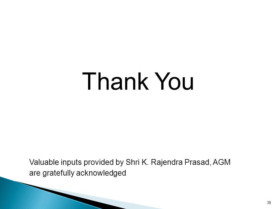 Thank You Valuable inputs provided by Shri K. Rajendra Prasad, AGM