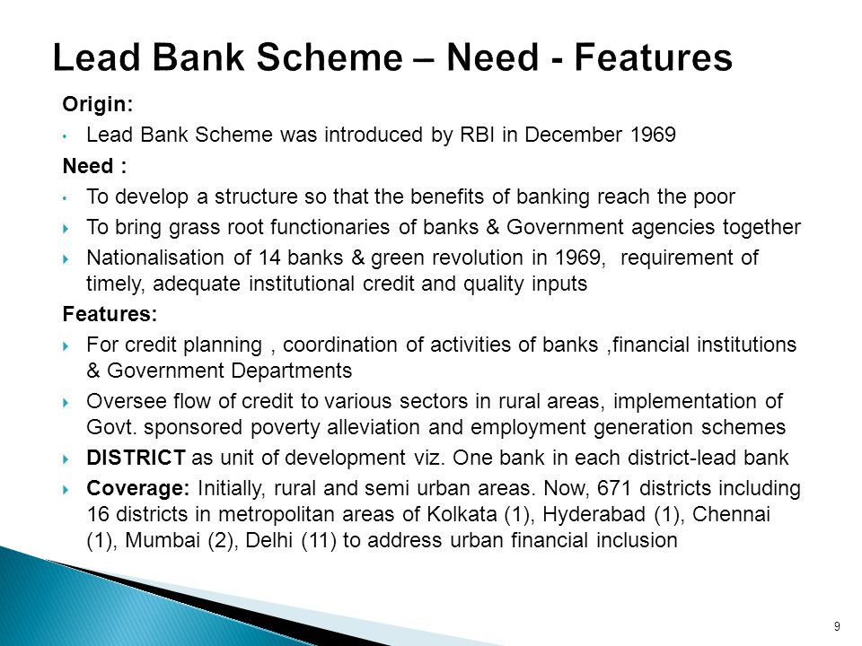 Lead Bank Scheme – Need - Features