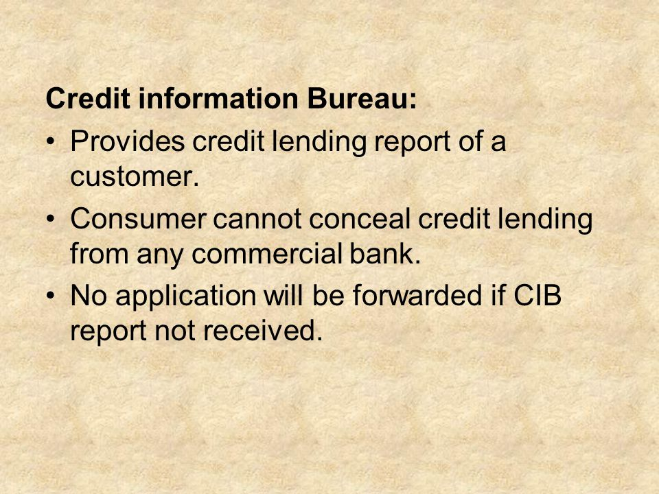 Credit information Bureau: