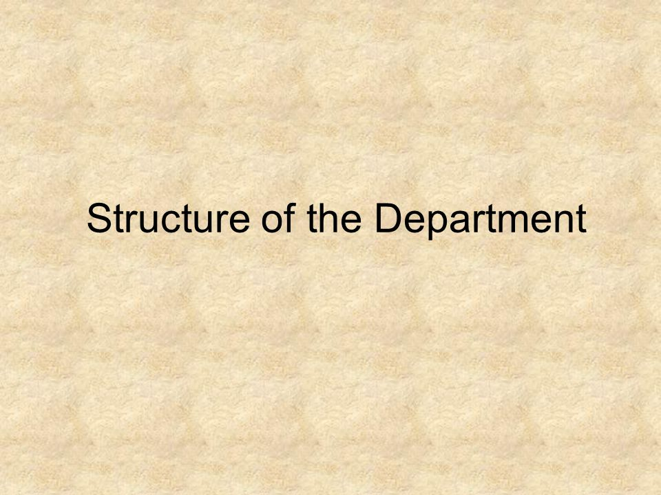 Structure of the Department