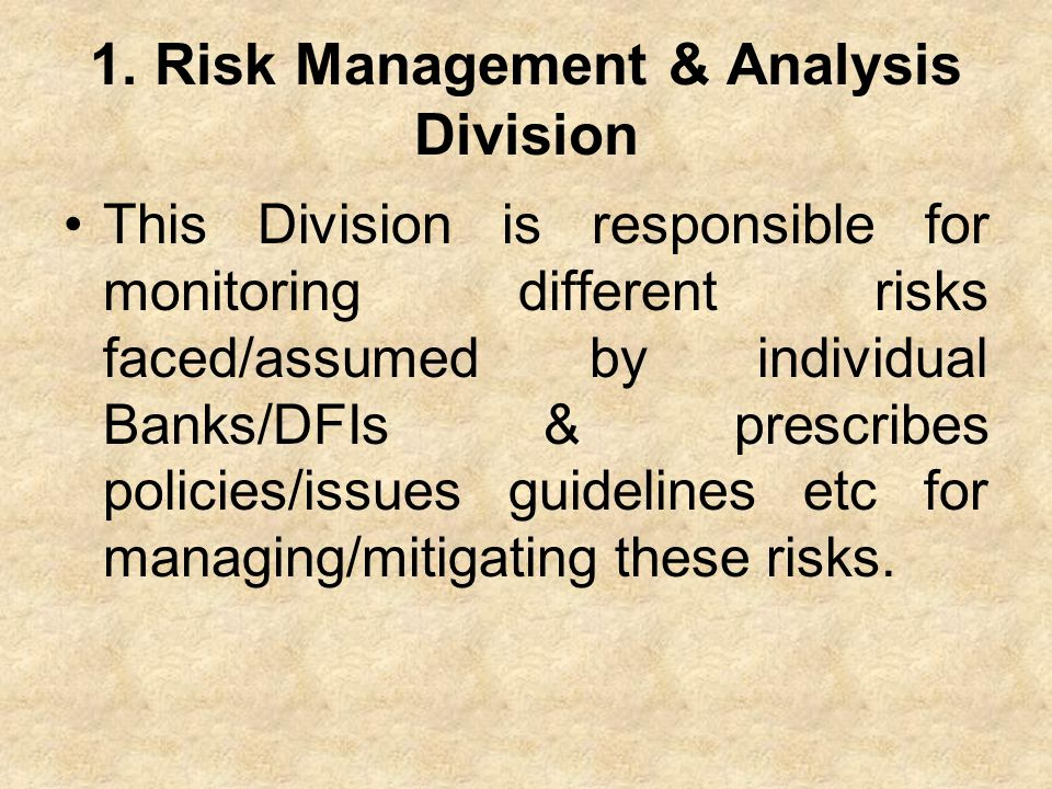 1. Risk Management & Analysis Division