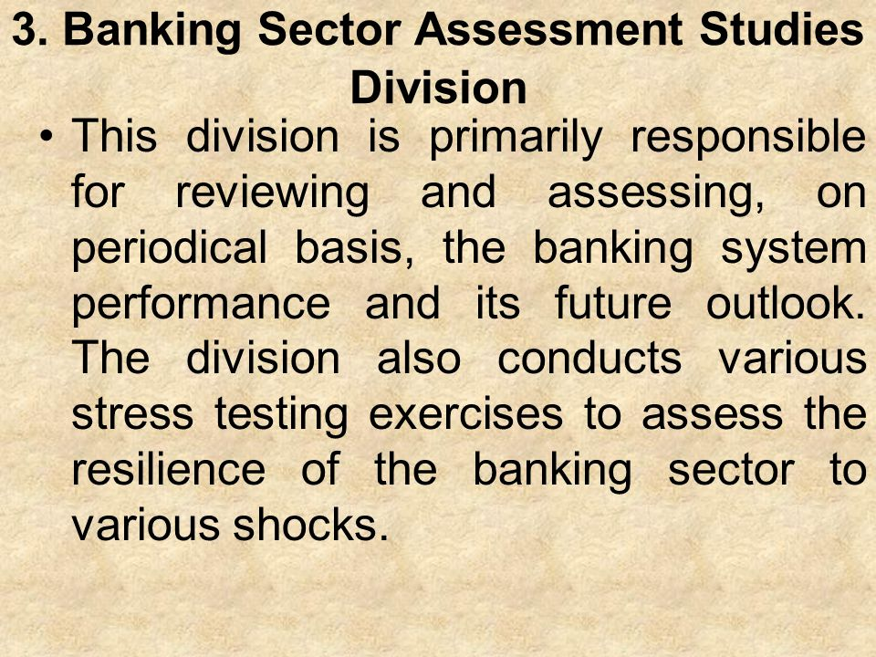 3. Banking Sector Assessment Studies Division