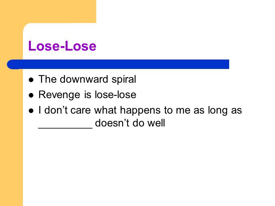 Lose-Lose The downward spiral Revenge is lose-lose
