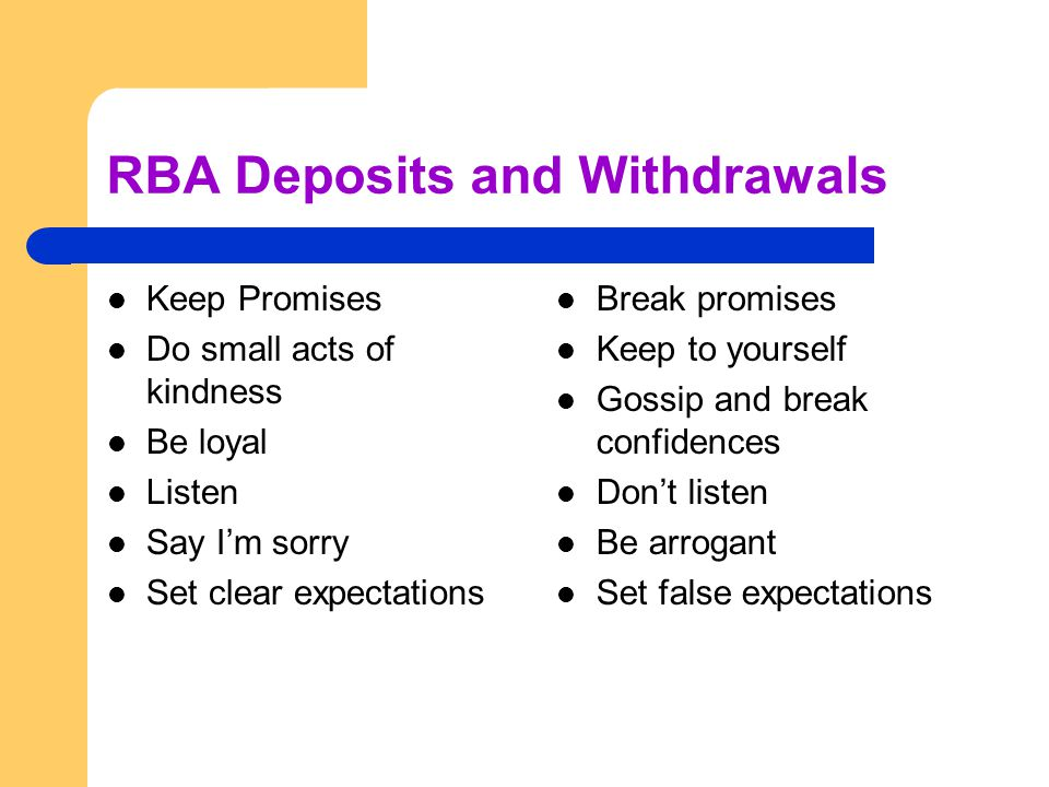 RBA Deposits and Withdrawals