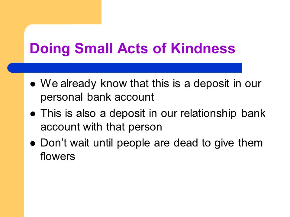 Doing Small Acts of Kindness