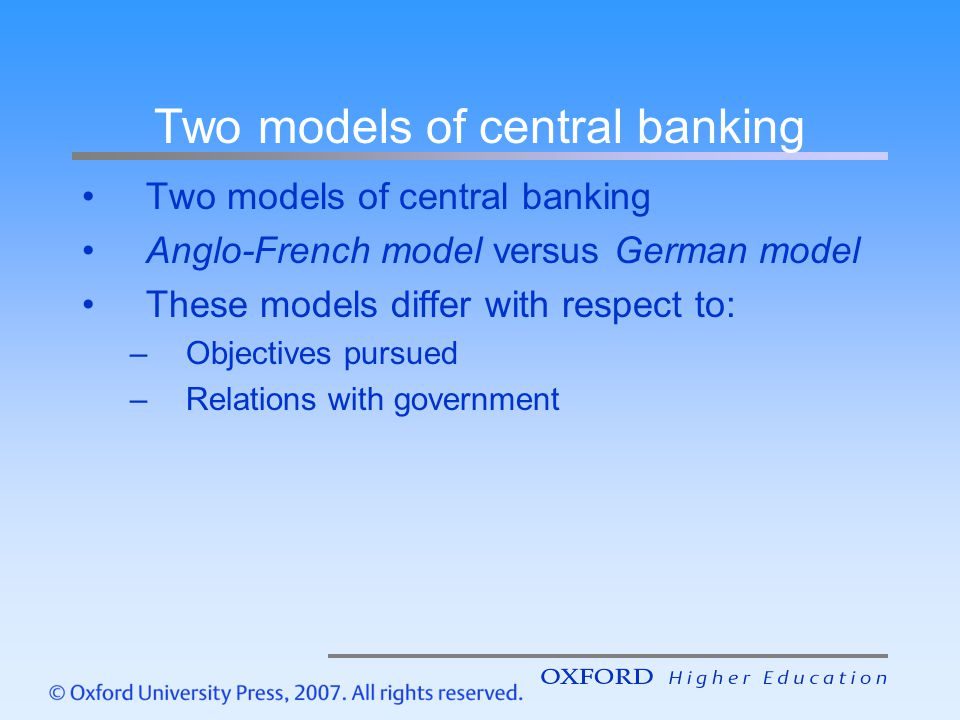 Two models of central banking