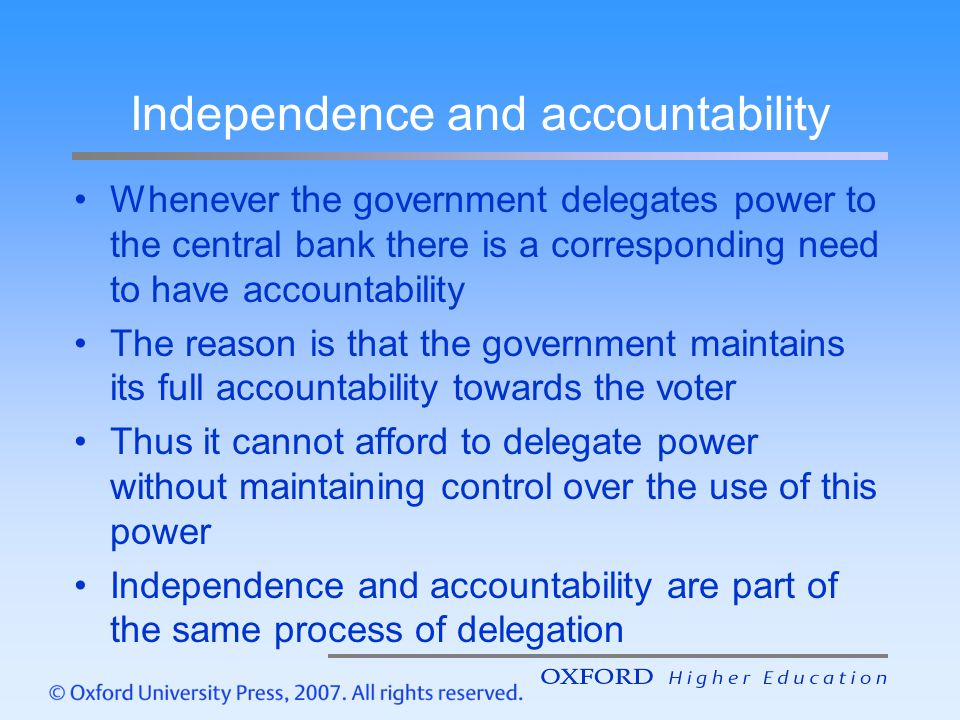 Independence and accountability