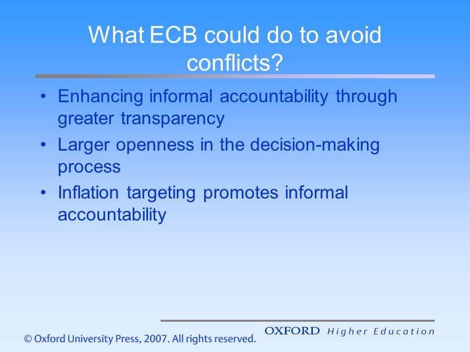 What ECB could do to avoid conflicts