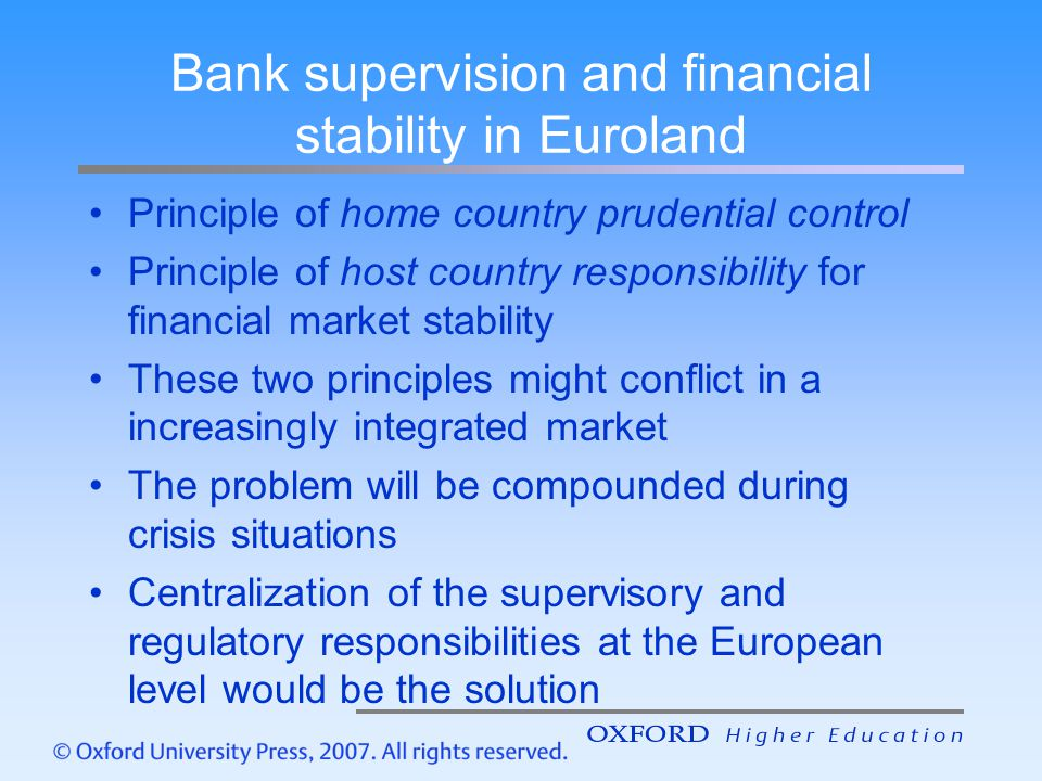 Bank supervision and financial stability in Euroland