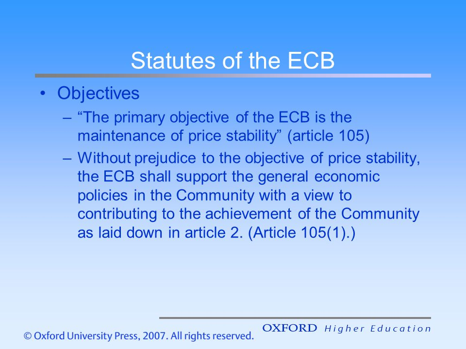 Statutes of the ECB Objectives