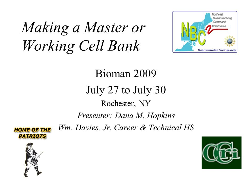 Making a Master or Working Cell Bank