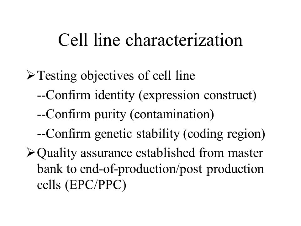 Cell line characterization
