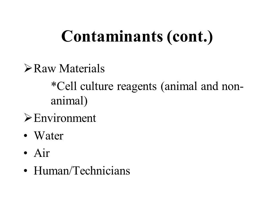 Contaminants (cont.) Raw Materials
