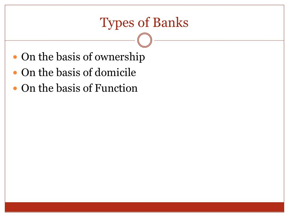 Types of Banks On the basis of ownership On the basis of domicile