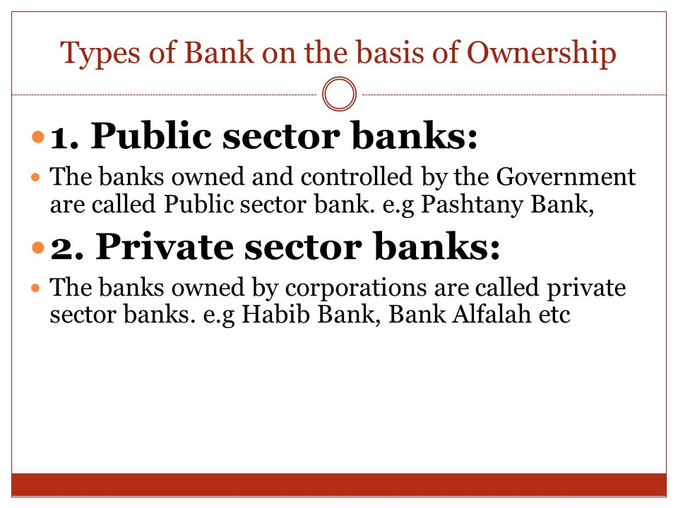 Types of Bank on the basis of Ownership