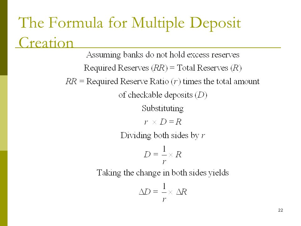 The Formula for Multiple Deposit Creation