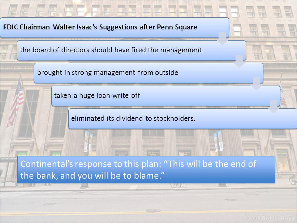 FDIC Chairman Walter Isaac's Suggestions after Penn Square