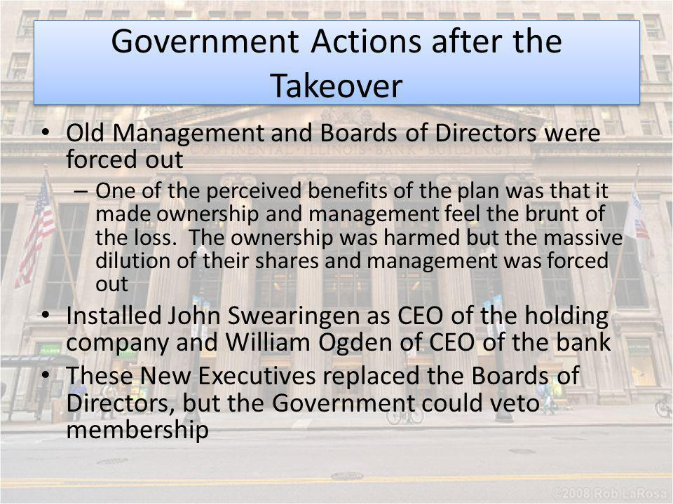 Government Actions after the Takeover