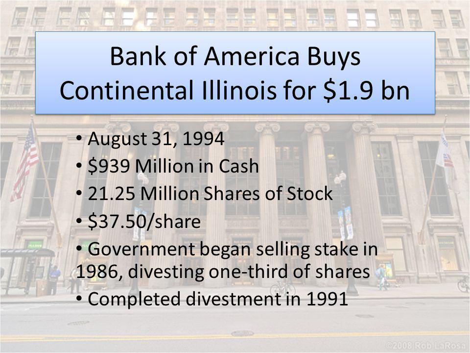 Bank of America Buys Continental Illinois for $1.9 bn