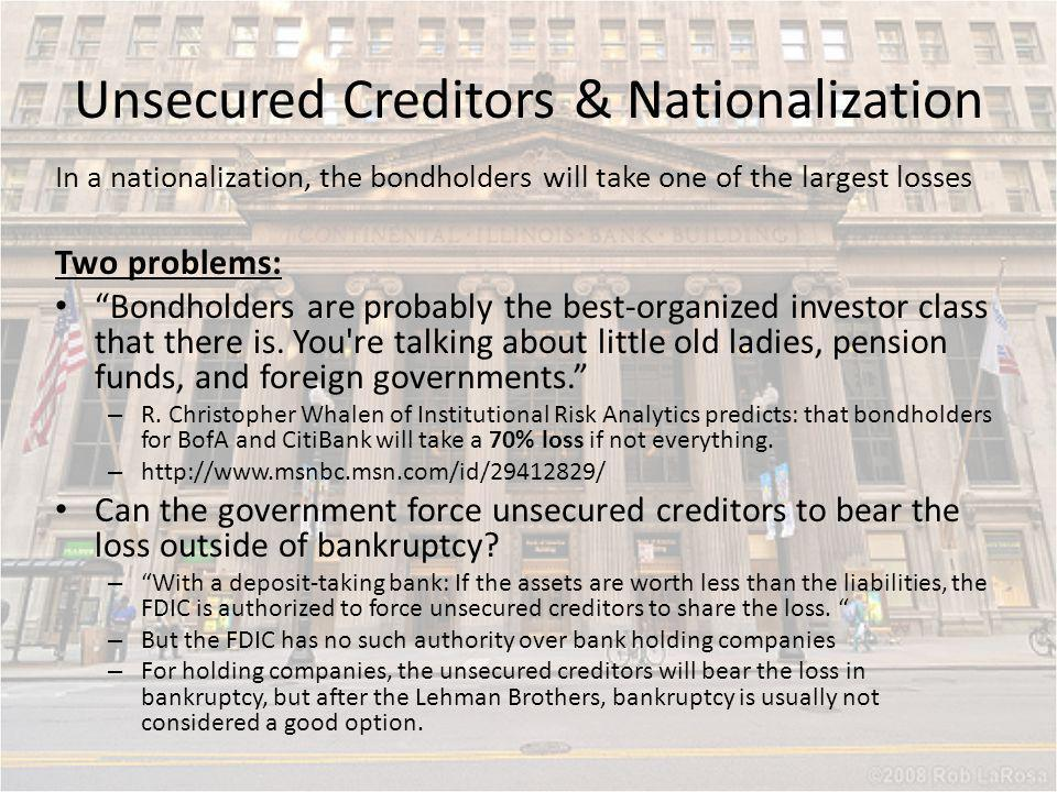 Unsecured Creditors & Nationalization