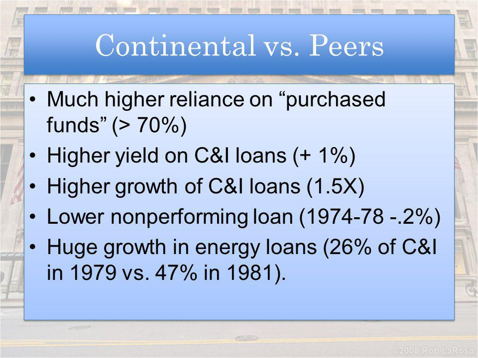 Continental vs. Peers Much higher reliance on purchased funds (> 70%) Higher yield on C&I loans (+ 1%)