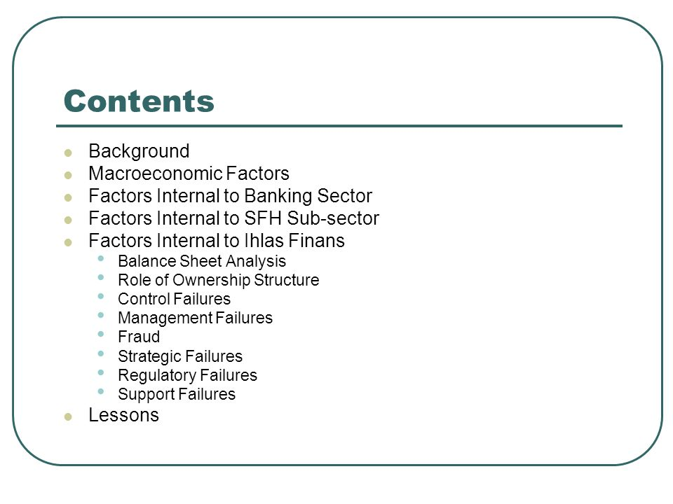Contents Background Macroeconomic Factors