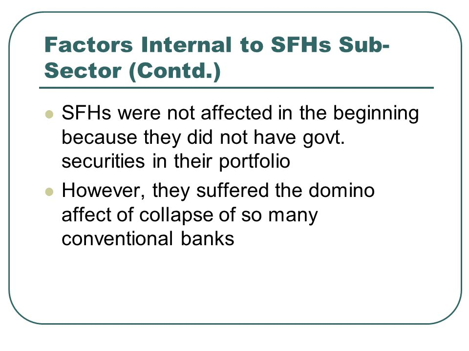Factors Internal to SFHs Sub-Sector (Contd.)