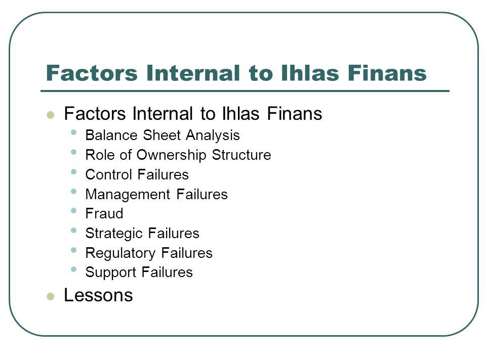 Factors Internal to Ihlas Finans