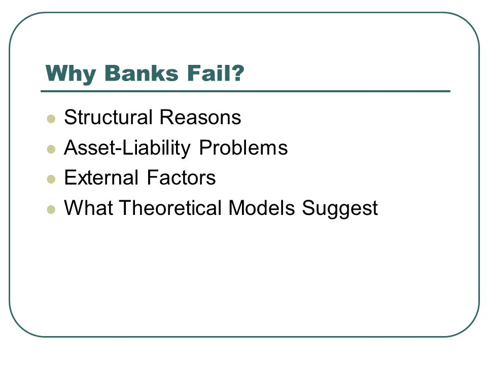 Why Banks Fail Structural Reasons Asset-Liability Problems