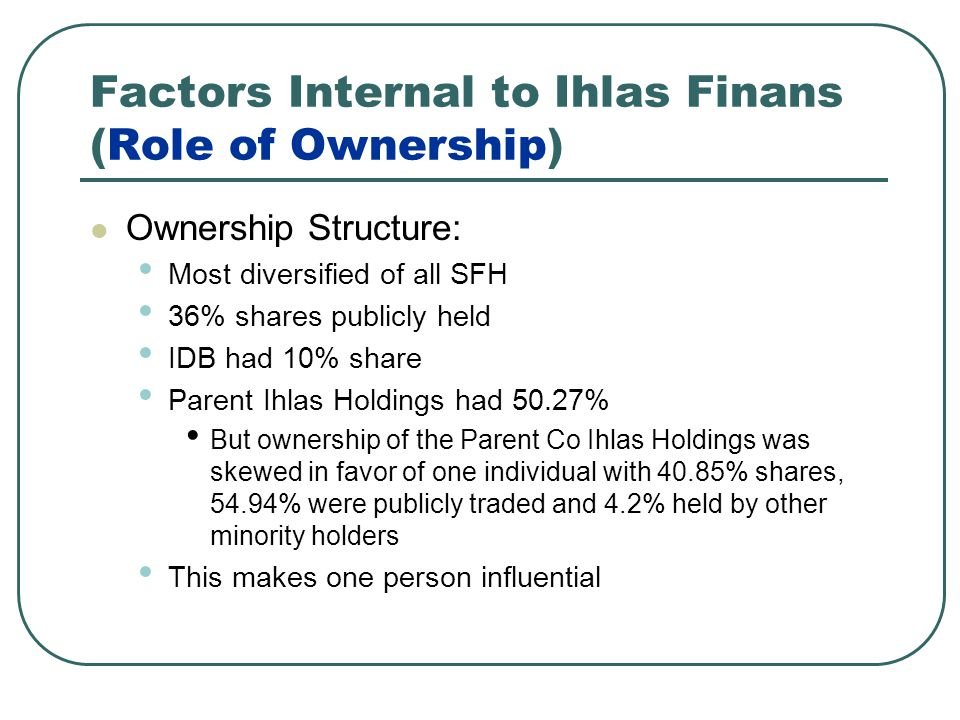 Factors Internal to Ihlas Finans (Role of Ownership)
