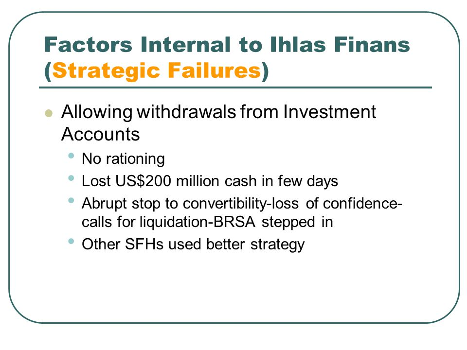 Factors Internal to Ihlas Finans (Strategic Failures)
