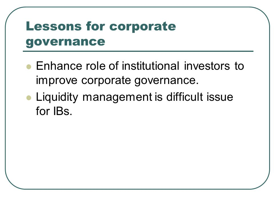Lessons for corporate governance