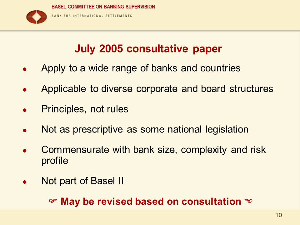 July 2005 consultative paper  May be revised based on consultation 
