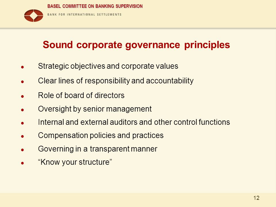 Sound corporate governance principles