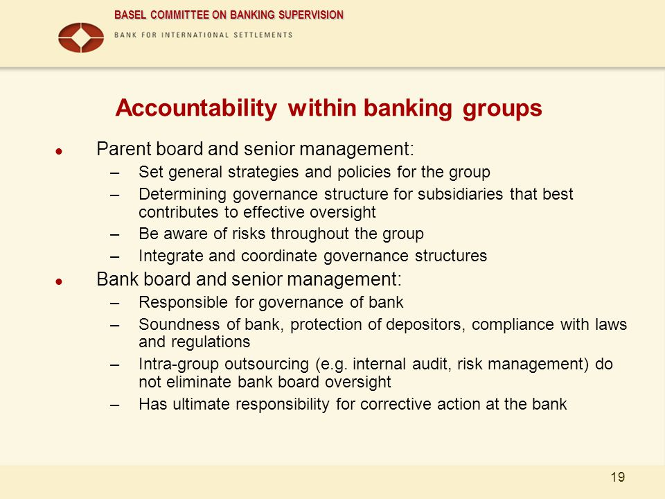 Accountability within banking groups