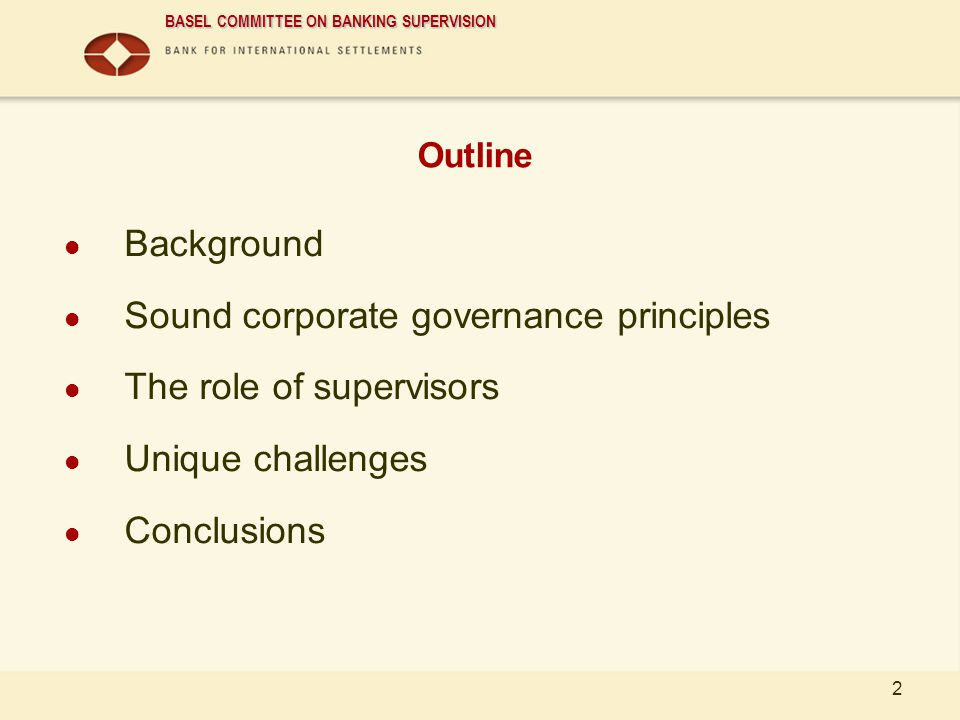 Sound corporate governance principles The role of supervisors