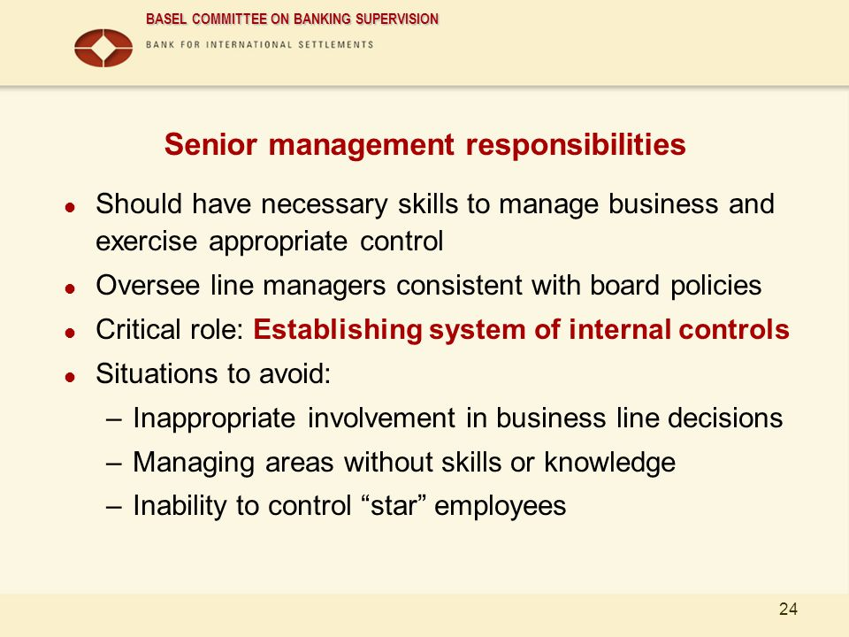 Senior management responsibilities